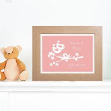 Silhouette Baby Bird Print - Personalised Baby Gift